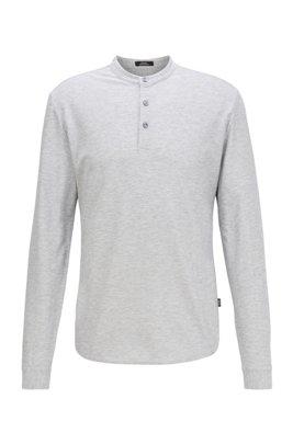 Slim-fit Henley shirt in mercerized cotton, Light Grey