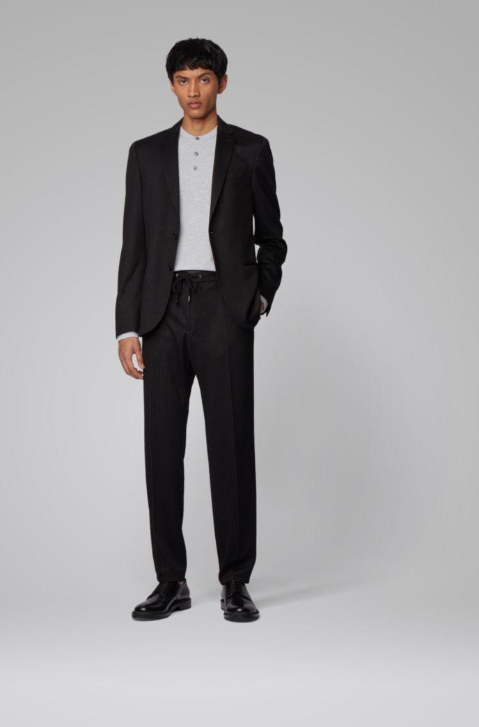 Slim-fit Henley shirt in mercerized cotton