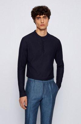 Slim-fit Henley shirt in mercerized cotton, Dark Blue