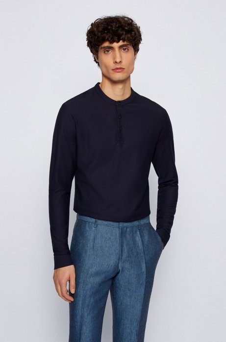 Slim-fit Henley shirt in mercerized cotton, Dark Blue