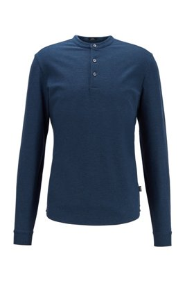 Slim-fit Henley shirt in mercerized cotton, Light Blue