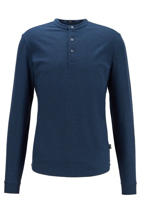 Slim-fit Henley shirt in mercerized cotton, Open Blue