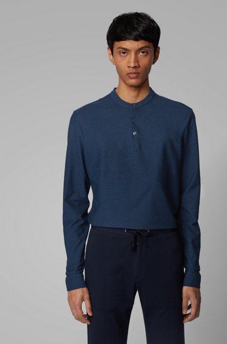 Slim-fit Henley shirt in mercerized cotton, Open Blue