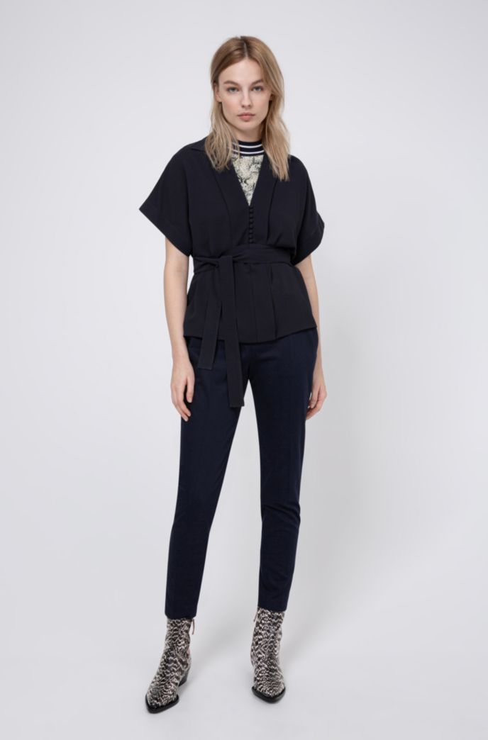 Relaxed-fit belted top in crinkle crepe