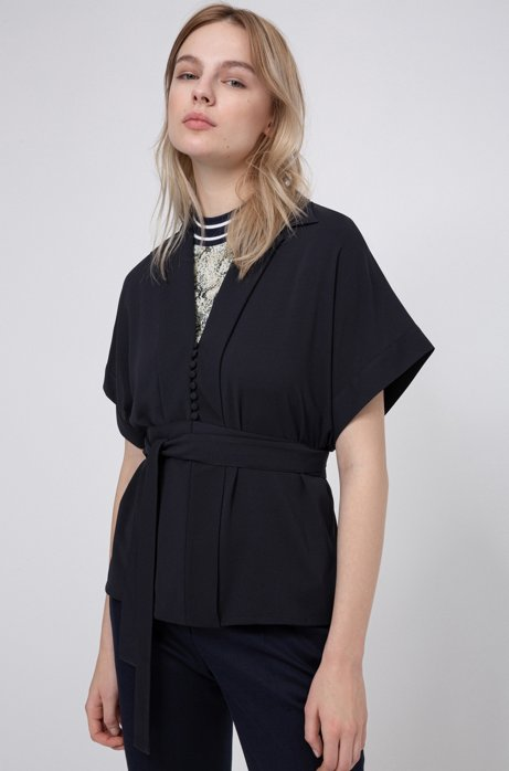 Relaxed-fit belted top in crinkle crepe, Open Blue