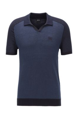 Cotton-linen short-sleeved sweater with polo collar, Dark Blue