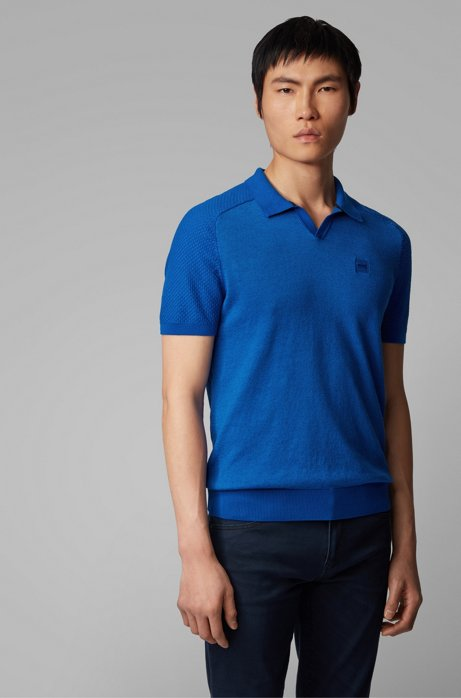 Cotton-linen short-sleeved sweater with polo collar, Blue