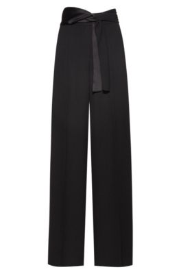 Wide-leg pants in crepe with scarf-style belt, Black
