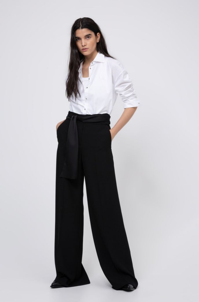 Wide-leg pants in crepe with scarf-style belt