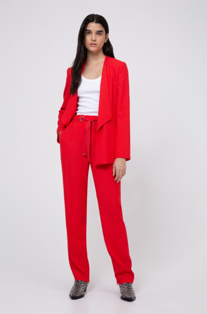 Relaxed-fit pants with tie-up logo belt