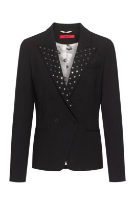 Regular-fit jacket in stretch fabric with studded lapels, Black