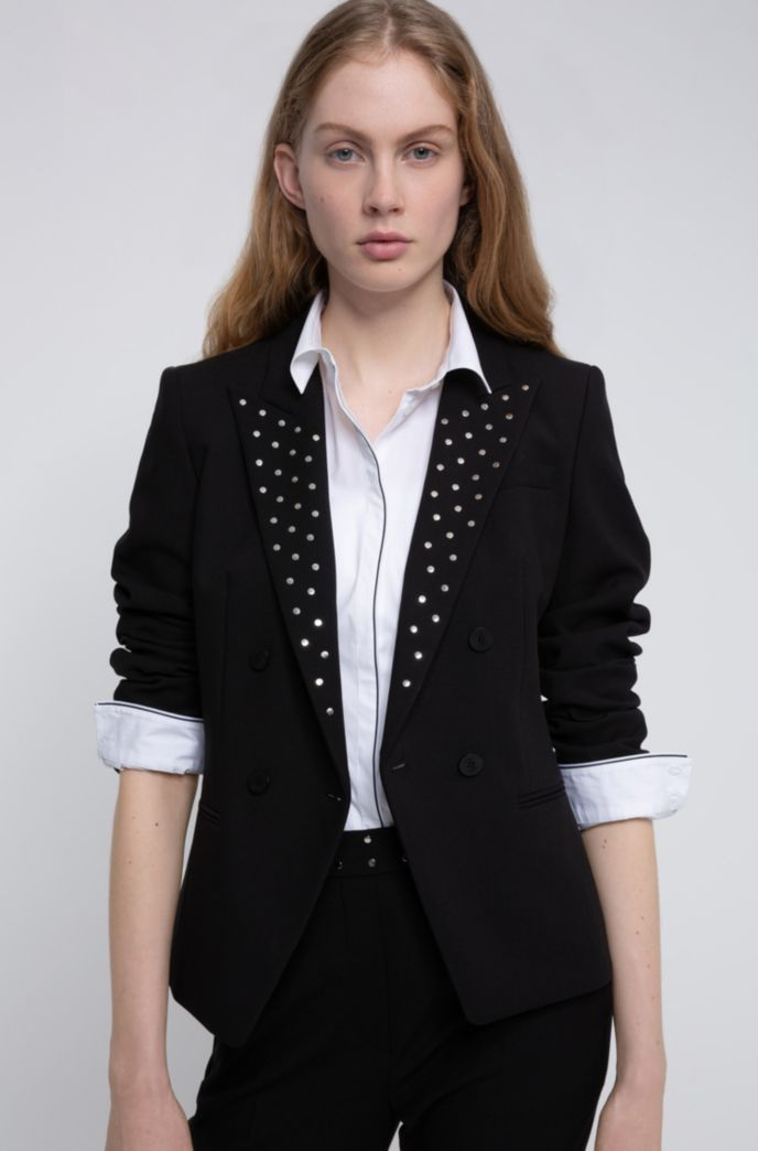 Regular-fit jacket in stretch fabric with studded lapels