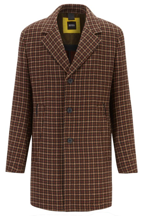 Wool-blend slim-fit coat with pop-color lining, Dark Brown