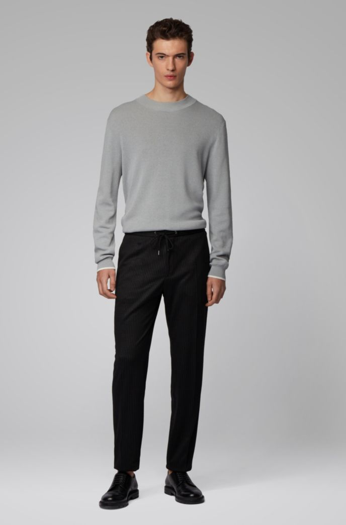 Mock-neck sweater in mouline cotton with contrast details