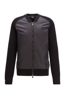 Zip-through jacket with ribbed sleeves and accent details, Black