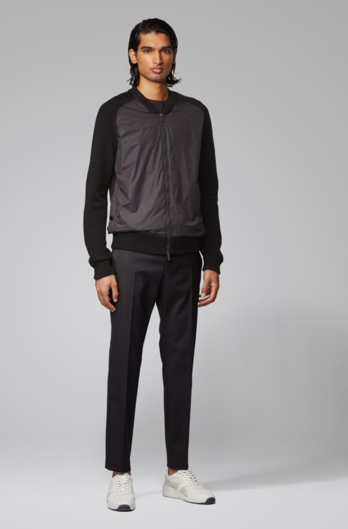Zip-through jacket with ribbed sleeves and accent details