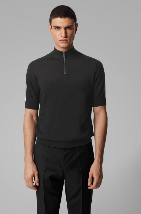 Short-sleeved sweater in virgin wool with zip neck, Black