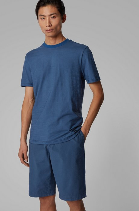 Regular-fit T-shirt with slub-yarn structure, Dark Blue