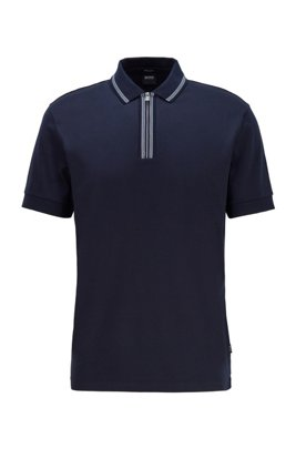 Regular-fit polo shirt in mercerized cotton, Dark Blue