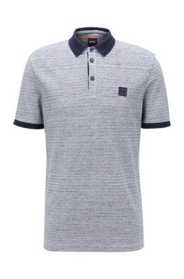Polo shirt in double-spun two-tone cotton, Dark Blue