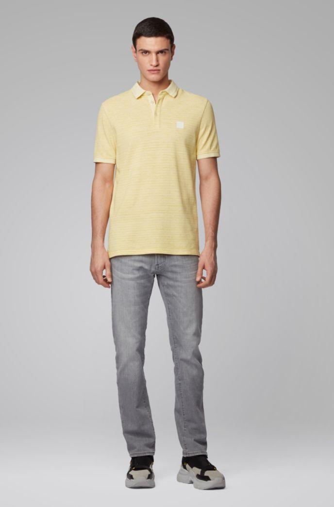 Polo shirt in double-spun two-tone cotton