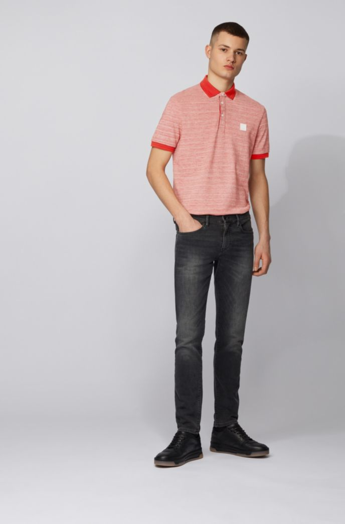 Polo shirt in double-spun two-tone cotton