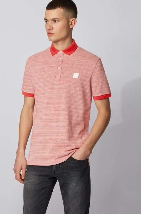 Polo shirt in double-spun two-tone cotton, Dark Orange