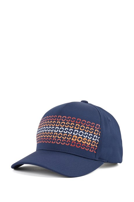 Technical twill cap with rubberized print, Dark Blue