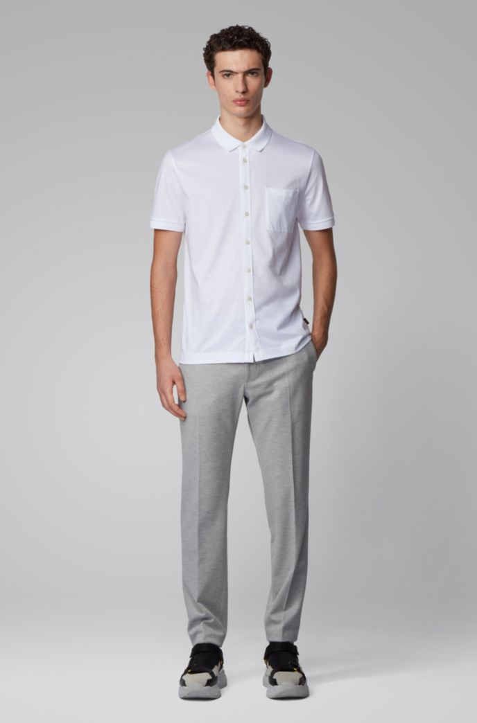 Shirt-style polo top in mercerized cotton
