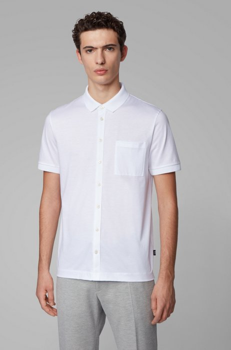 Shirt-style polo top in mercerized cotton, White