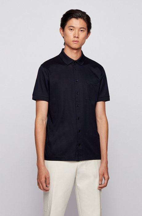 Shirt-style polo top in mercerized cotton, Dark Blue
