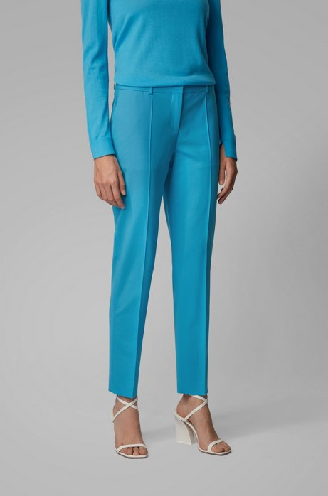 Regular-fit pants in traceable merino wool with stretch, Blue