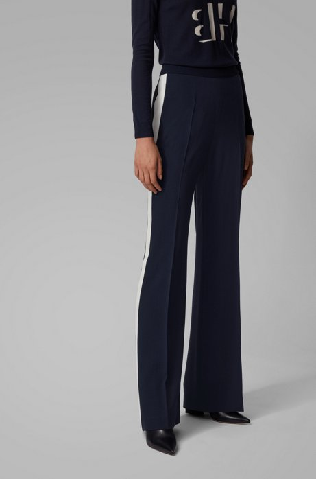 Relaxed-fit pants with high-rise waistband, Open Blue