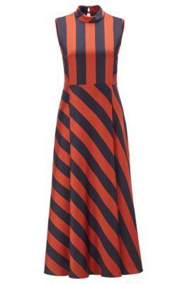 Crinkle-crepe maxi dress with block stripe, Patterned
