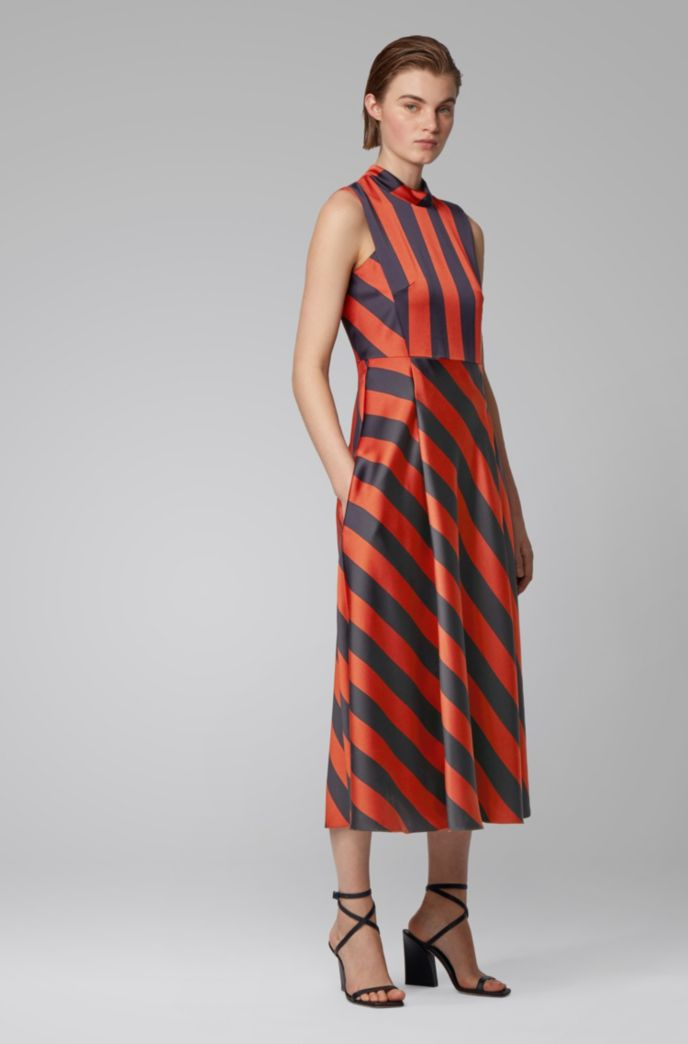 Crinkle-crepe maxi dress with block stripe