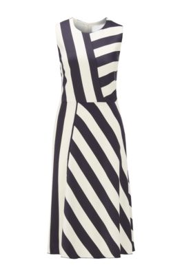 Midi-length block-stripe dress in crinkle crepe, Patterned