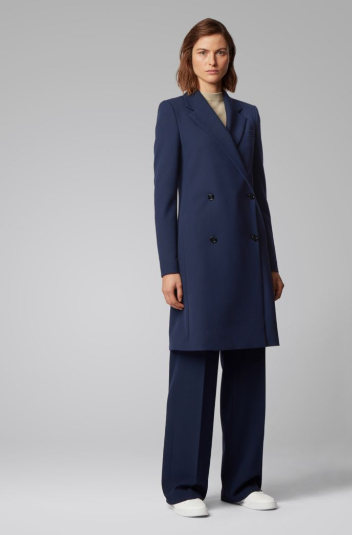 Regular-fit double-breasted coat with notch lapels