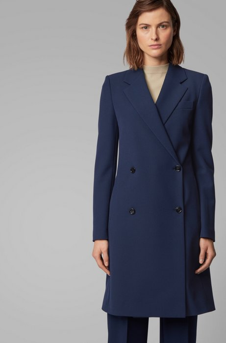 Regular-fit double-breasted coat with notch lapels, Open Blue