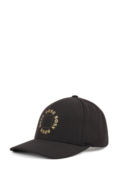 Stretch-canvas cap with frozen-gold logo, Black