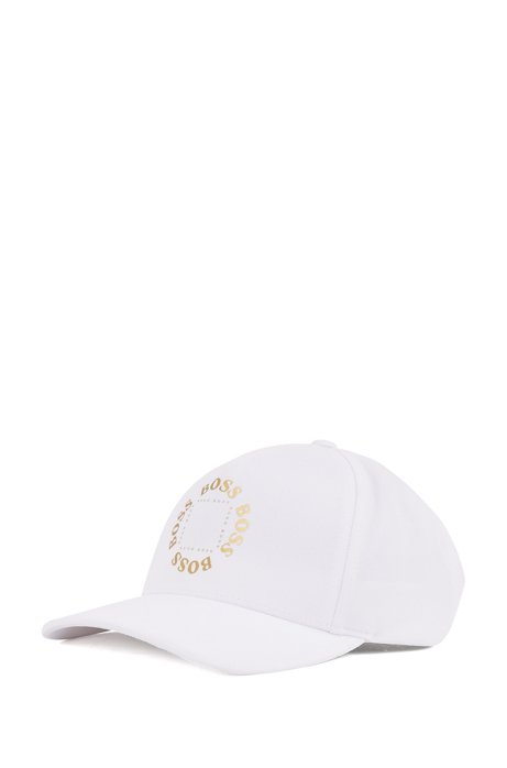 Stretch-canvas cap with frozen-gold logo, White