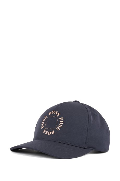 Stretch-canvas cap with frozen-gold logo, Dark Blue
