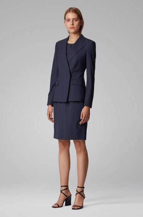Checked shift dress with two-button placket , Patterned