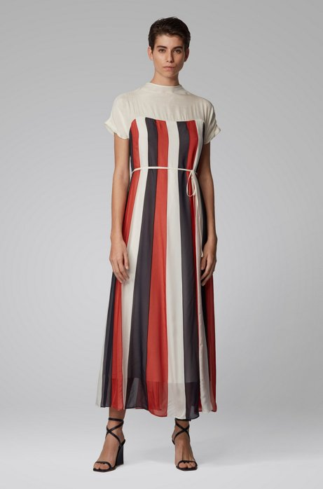 Chiffon maxi dress with flared skirt and tie belt, White