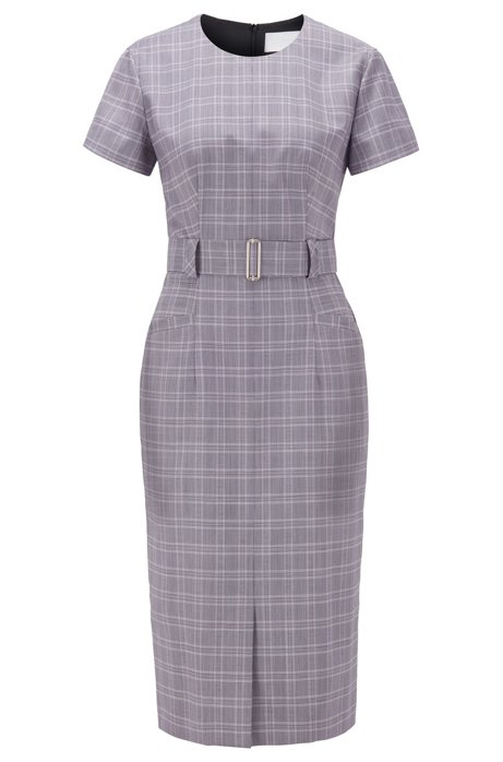 Checked dress with belt in virgin wool , Patterned