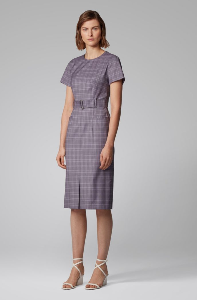 Checked dress with belt in virgin wool