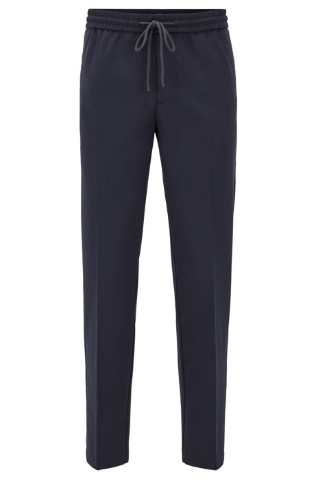 Slim-fit pants in stretch fabric with drawstring waist, Dark Blue