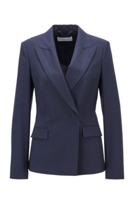 Regular-fit jacket in an oversize-check wool blend, Patterned
