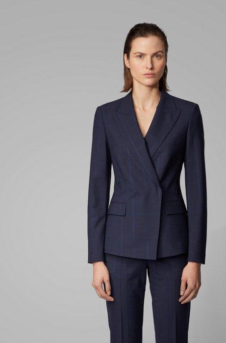 Regular-fit jacket in an oversize-check wool blend, Patterned