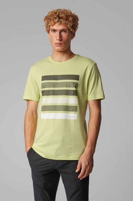 Cotton-jersey T-shirt with color-block logo artwork, Light Green