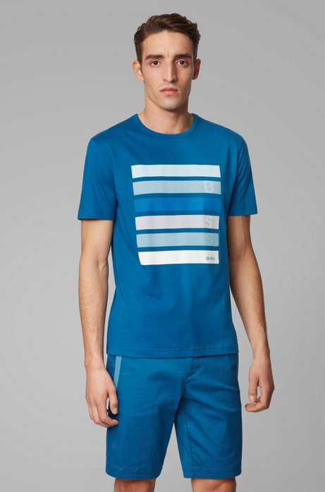 Cotton-jersey T-shirt with color-block logo artwork, Blue